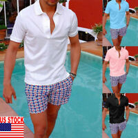 Men's Slim Fit Shirts Short Sleeve Casual Golf T-Shirt Tops Muscle Tee Solid US