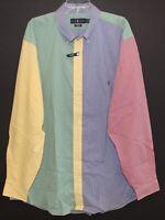 Polo Ralph Lauren Big & Tall Mens 2XB Blue Fun Checks Button-Front Shirt NWT 2XB