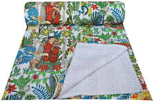 Indian Handmade Twin Cotton Kantha Quilt Throw Blanket Bedspread Twin Bed Cover