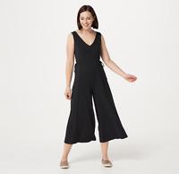 AnyBody Cozy Knit Wide-Leg Jumpsuit Black Color Size Petite M