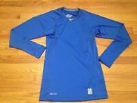 Men's Nike Pro Combat Core Fitted Raglan Long-Sleeve Royal 84%Poly 16%Spandex
