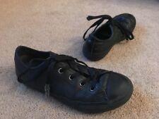 Converse All Star Trainers Pumps Black Leather Uk Kids Size 1 Plain School