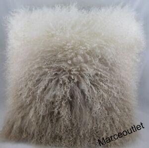 "Michael Aram Dip Dye Curly Sheepskin TWO Decorative Pillows 18"" x 18"" Gold"