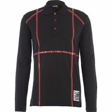 LOVE MOSCHINO Men's Black & Red Stripe Long Sleeve Polo Shirt Top - size Large