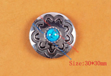 10Pc 30Mm Blue Turquoise Flower Western HeadStall Saddle Silver Concho Screwback