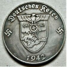 WW2 GERMAN COMMEMORATIVE 5 REICHSMARK COLLECTORS COIN KRIM 1942 A. HITLER