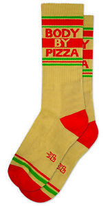 BODY BY PIZZA Socks by Gumball Poodle Ribbed Gym Crew Socks Statement Socks