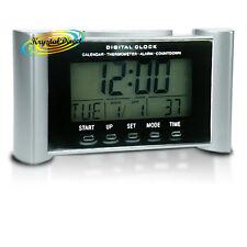 Lámpara De Tiempo Digital Calendario Alarma repetición de alarma cuenta atrás Therm Reloj De Plata