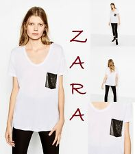 ZARA Gem Pocket T-Shirt Scoop Neck Short Sleeve New With Tags White Top Size XL