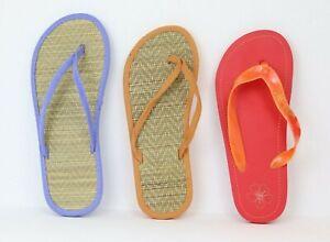Tongs femme bambou confortable sable rouge bleu piscine plage sandales naturelle
