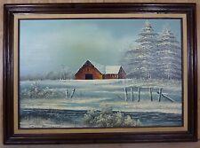 Orig Everett Woodson Oil on Canvas Barn Scene Lrg Framed Decorative Art Painting