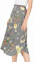 Calvin Klein Women's Skirt Black Size Large L Floral Print Asymmetrical $89 #584