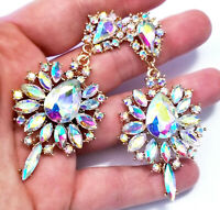 Chandelier Earrings AB Rhinestone Crystal 3 inch