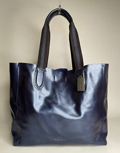 COACH XL Derby Pebbled Metallic Leather Tote
