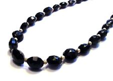 Gorgeous 925 Sterling Silver 100cttw Faceted Black Agate Necklace F23