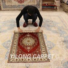 YILONG 2.5'x4' Small Hand Knotted Silk Carpets Red Porch Handmade Area Rug 844B
