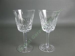 """2 Original VTG Waterford Crystal Lismore Claret Wine 5-7/8"""" Goblet Cut Glass Set"""