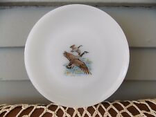 Vintage Fire King White Milk Glass Bread Plate Game Bird Canada Goose 6 1/4""