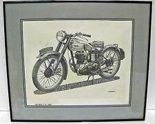 1947 BSA C-11 250cc Original pencil drawing picture by Paul Jamiol , framed