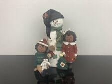 Sarah's Attic Limited Edition Figurine Cuddles The Snowman With Kids 1996