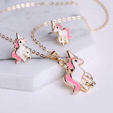 Fashion Jewelry Set de mujer unicornio Collar con colgante pendientes de presión