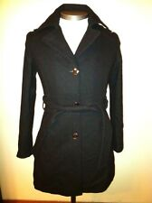KENNETH COLE WOMENS BLACK PEA COAT BELTED TRENCH JACKET WOOL SZ 6 $200