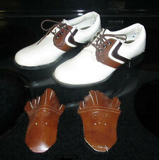 Mens Size 5 M Golf Shoes Spikes Man Made Materials Leather Brown White Black
