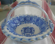 French Faience Georges Martel Desvres Rouen handled basket c1900 applied flowers