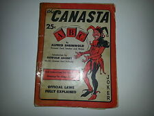 Canasta ABC Alfred Sheinwold 25c Oswald Jacoby Official Laws 1950