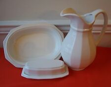 4 PC PFALTZGRAFF HERITAGE WHITE COVERED BUTTER DISH +LG PITCHER + VEGETABLE BOWL
