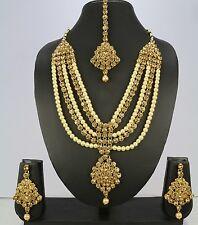 Bridal Wedding Indian Bollywood Kundan Jewelry New Necklace Set Tikka