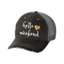 Hello Weekend Distressed Glitter Ladies Trucker Hat - Funny Saturday Friday