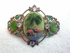 Vintage Flamingo Crystals Barrette Hair Clip France Silver Tone Filagree Superb