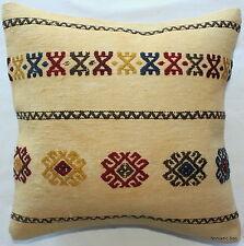 (40*40cm, 16inch) Boho hand woven kelim cushion cover cream/off white motifs