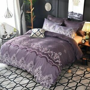Solid color bed linens Bedding Set Simple bedclothes Quilt cover Queen king size