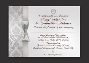 PERSONALISED WEDDING DAY & EVENING DAMASK INVITATIONS WITH ENVELOPES & P&P