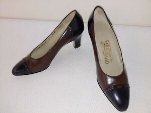 SALVATORE FERRAGAMO Made in Italy,Brown Leather,Black Cap Toe Women's Shoes,US6B