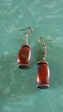 copper tone silver plated hooks Red Jasper stone chain dangle earrings