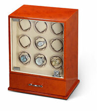 Diplomat Estate Burlwood Nine 9 Watch Winder Wood Display Storage Case Box NEW