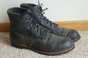 RARE Red Wing Heritage 8086 Iron Ranger Charcoal Rough & Tough Leather Boots 10