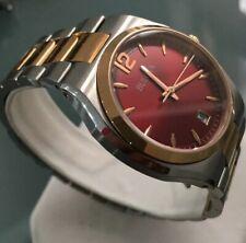 Ladies Genuine Bulova 98M119 Two Tone rose Gold Designer dress Watch red date