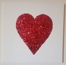 Sequins Red Heart Glitter Wall Art Canvas Valentines Day 14x14