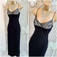 NEXT  UK 6 Petite New Lush Black Velvet Beaded Bust Maxi Dress Free P&P