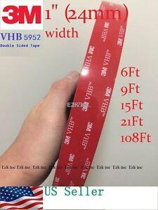 "3M VHB #5952 Dual Sides Acrylic Foam Tape Automotive 1""in x 6/9/15/21/36/108 ft."