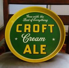 "Vintage Croft Cream Ale Metal Tin Litho 12"" Beer Tray Croft Brewing Co Boston Ma"