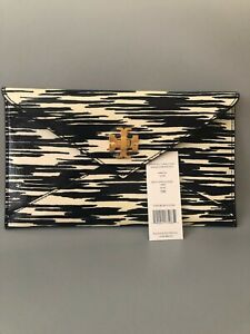NWT TORY BURCH TURNLOCK ENVELOPE POUCH ^NAVY SPACE DYE