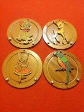 """Vintage Set Of Children's Wood Hanging Wall Plaques Very Old 3.5"""" Set Of 4"""