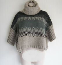 KOOKAI Rolled Neck Wide Short Sleeve Loose Fit Chunky Wool Cropped Sweater Sze 1