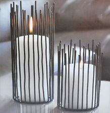 Iron Decor Pillar Candle Willow Holder Set of 2