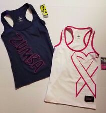 Zumba Women's Fitness Pop Racerback & Groove For Cure Cancer *2 PACK* Tank Top